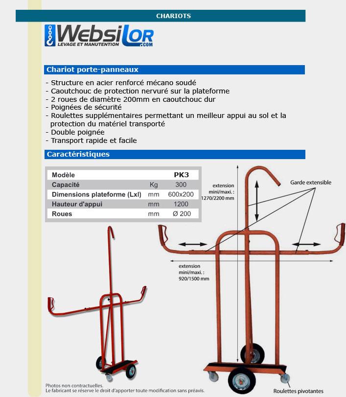 Informations techniques Chariot spécial - 300 kg