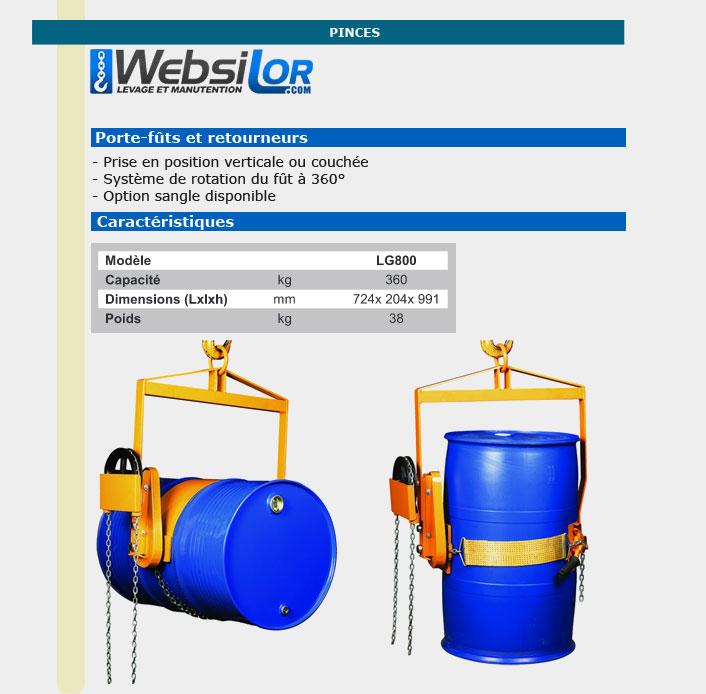 Informations techniques Porte fût rotation 360° - 360kg