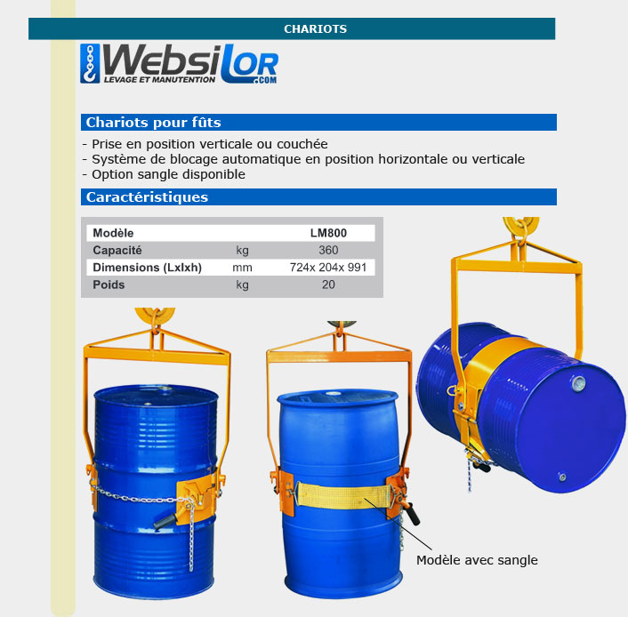 Informations techniques Porte fût -  360kg