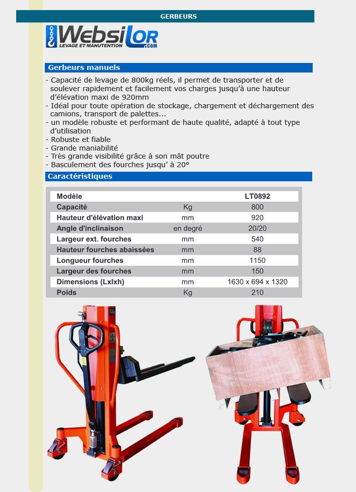 Informations techniques Gerbeur manuel pour préparation commande fourches basculantes