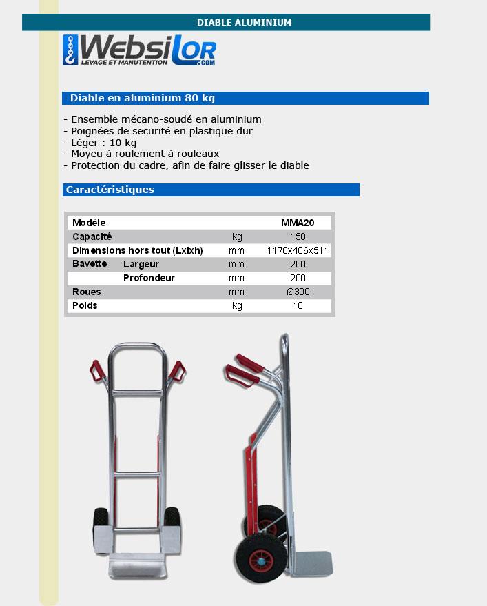 Informations techniques Diable aluminium - Capacité 150kg