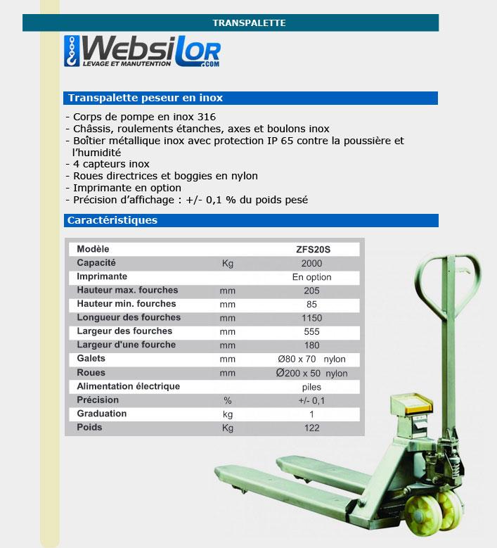 Informations techniques Transpalette peseur en inox 316 - 2000kg