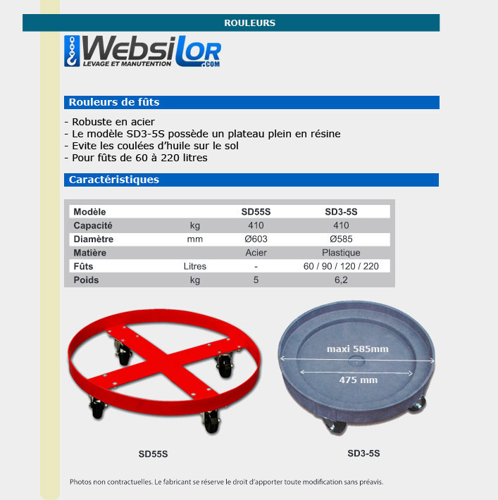 Informations techniques Chariot en plastique pour fût - Capacité 410kg