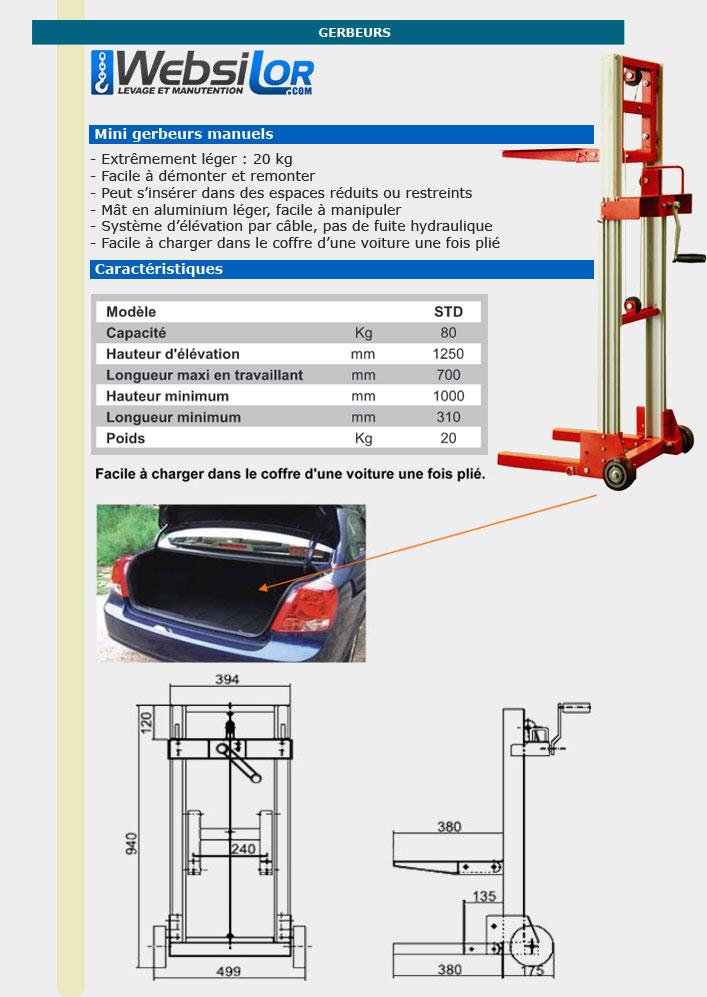 Informations techniques Mini gerbeur manuel aluminium - Capacité 80kg