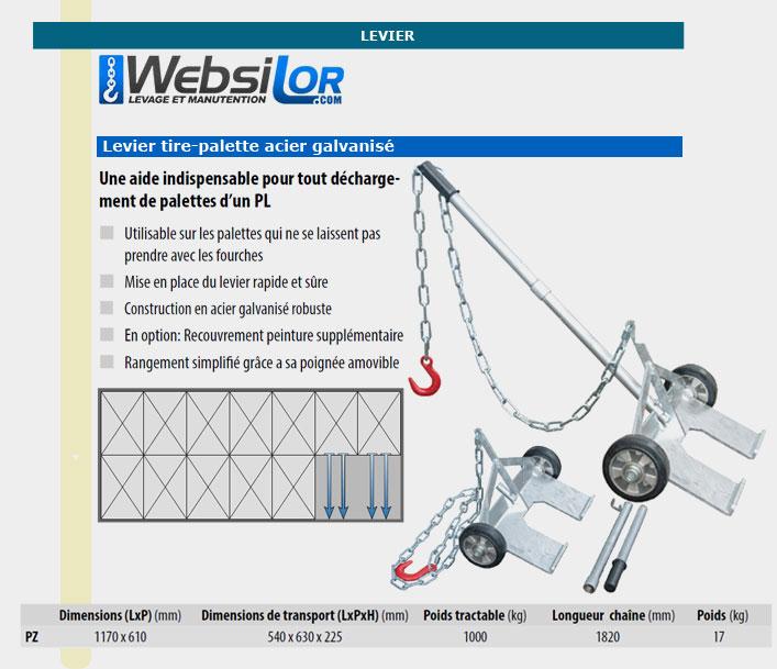 Informations techniques Levier tire-palette
