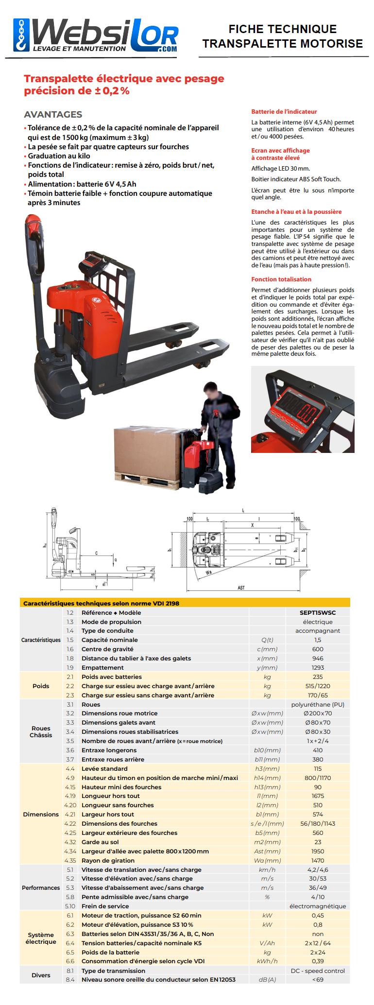 Informations techniques Transpalette tout électrique avec pesage - 0.2% de précision - 1500kg