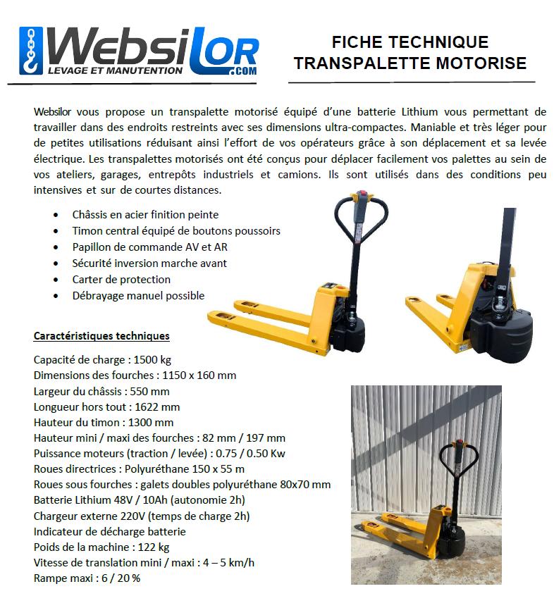 Informations techniques Transpalette électrique standard et léger - 1500kg