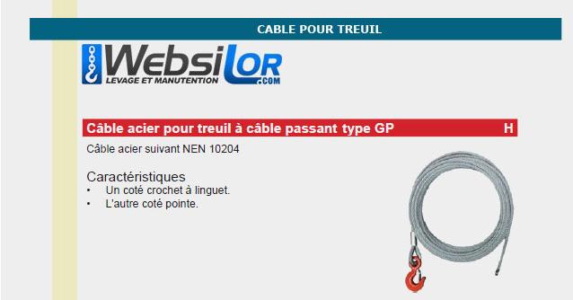Informations techniques Câble pour treuil à câble passant type gripper