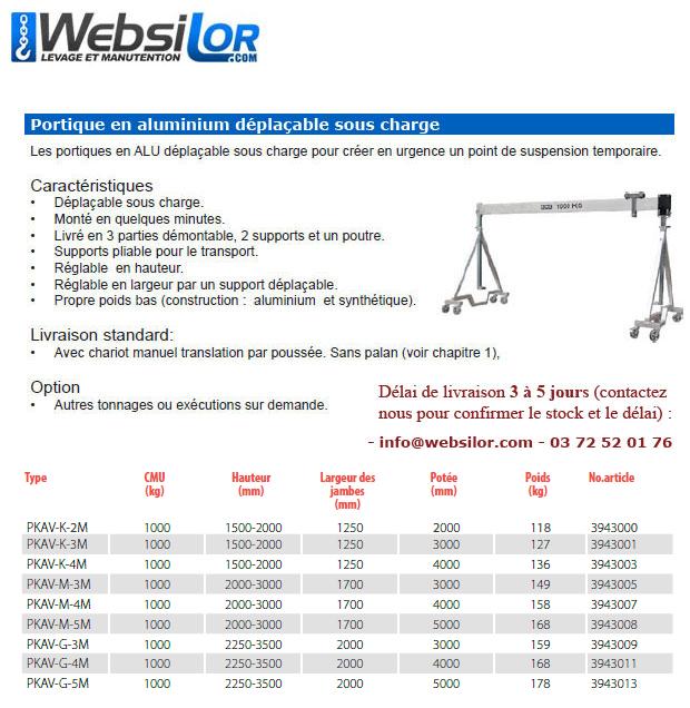 Informations techniques Portique mobile en aluminium - gamme standard de stock - 1000kg