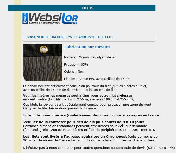 Informations techniques Filet brise-vent 65% noir avec bande et oeillet