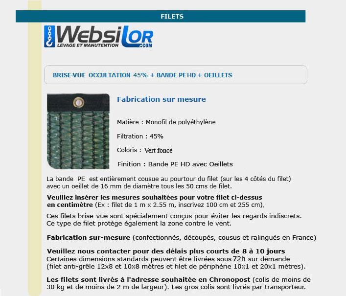 Informations techniques Filet brise-vue vert foncé 45% occultation - bande oeillet