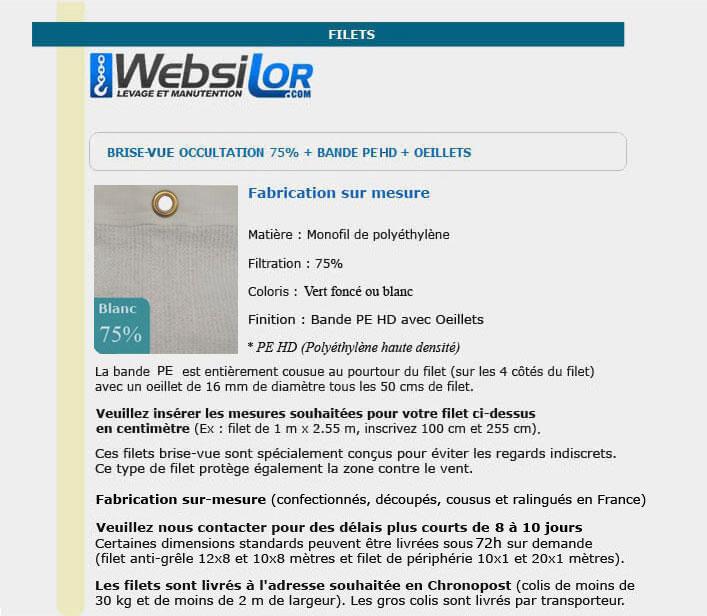 Informations techniques Filet brise-vue vert foncé ou blanc 75% occultation - bande oeillet