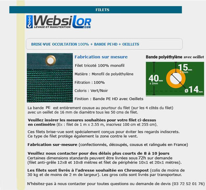 Informations techniques Filet brise-vue vert foncé 100% occultation