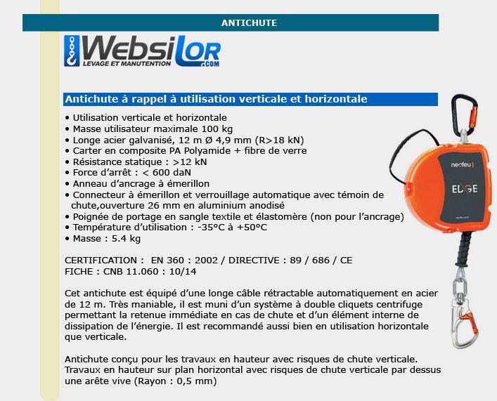 Informations techniques Antichute à rappel verticale et horizontale