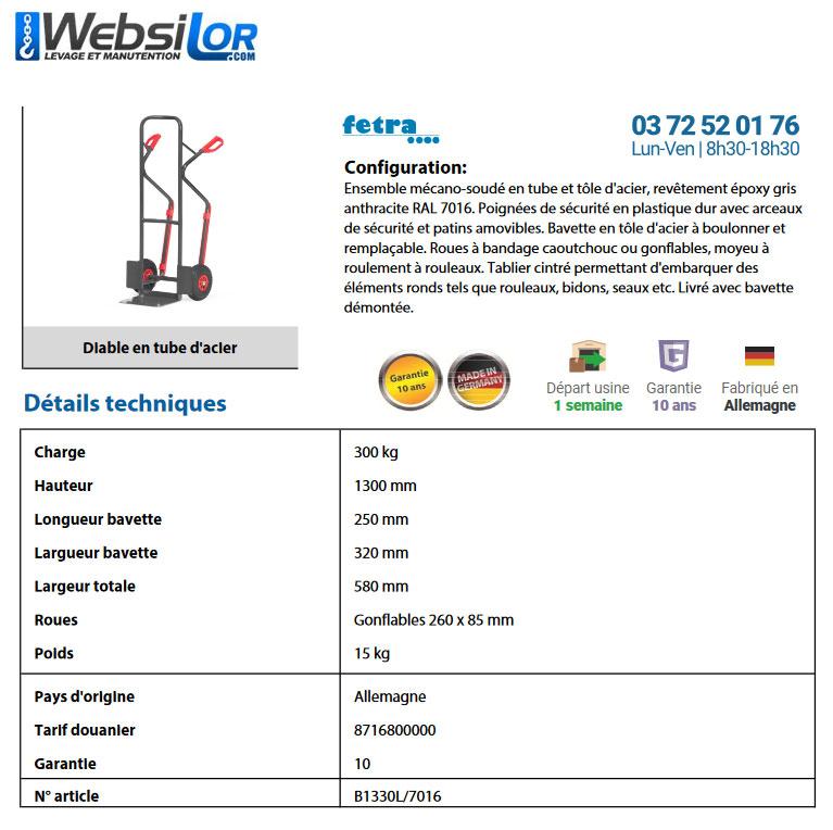 Informations techniques Diable à roues gonflables 300 kg