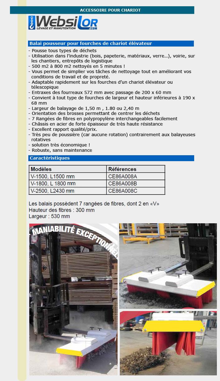 Informations techniques Balai pour fourches de chariot élévateur