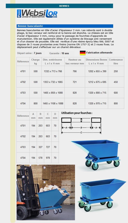 Informations techniques Benne basculante roulante 250 à 800 litres