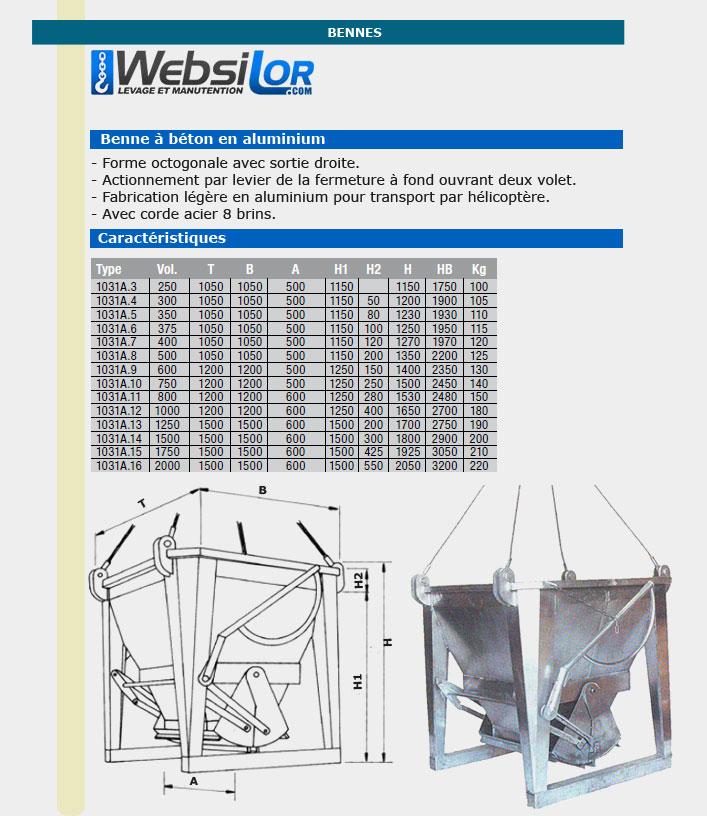 Informations techniques Benne à béton en aluminium