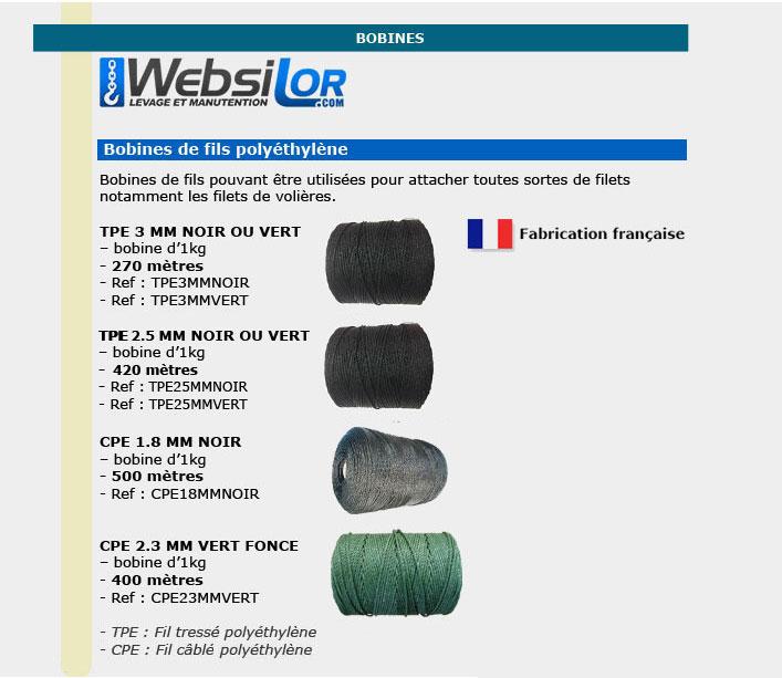 Informations techniques Bobines de fils - attache filet