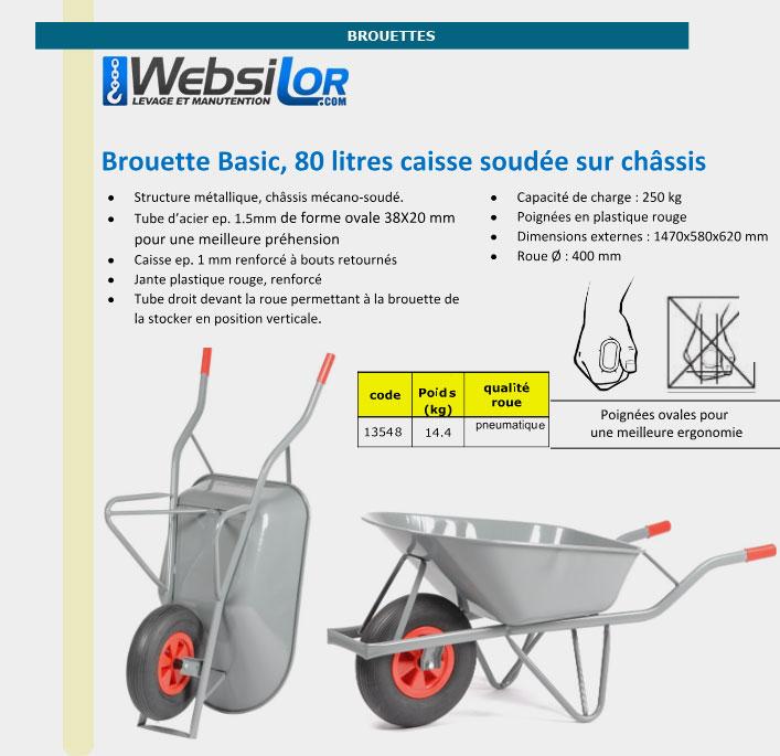 Informations techniques Brouette 80 litres - lot de 8 pièces