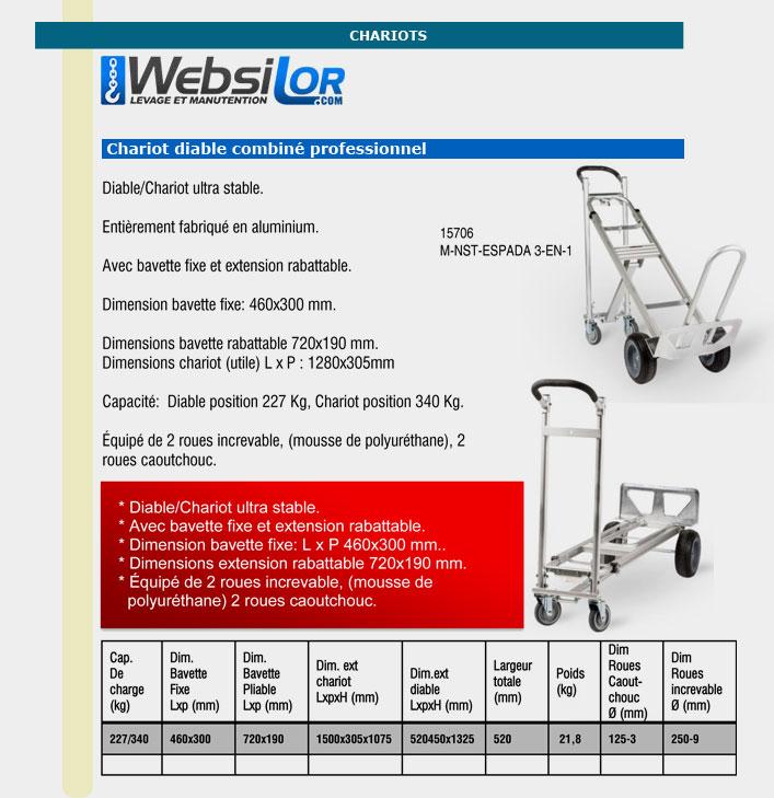 Informations techniques Chariot diable à roues increvable
