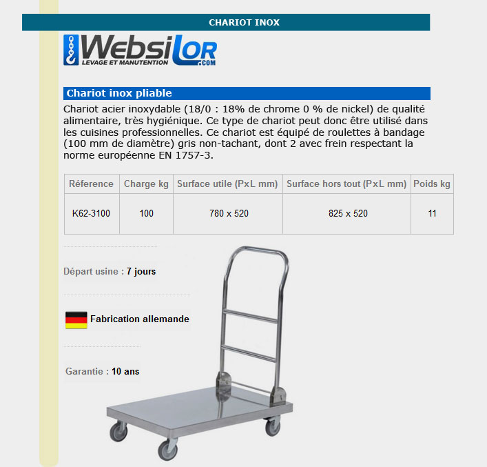 Informations techniques Chariot inox pliable