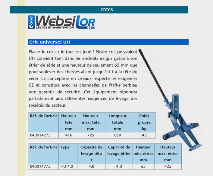 Informations techniques Crics universel - 4000 kg