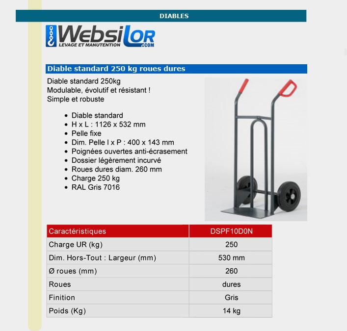 Informations techniques Diable complet 250 et 400 kg