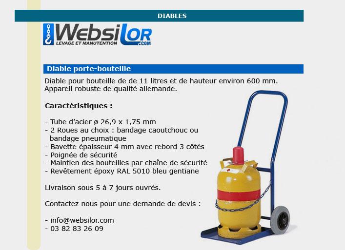 Informations techniques Diable porte bouteille de 11 litres - 50 kg
