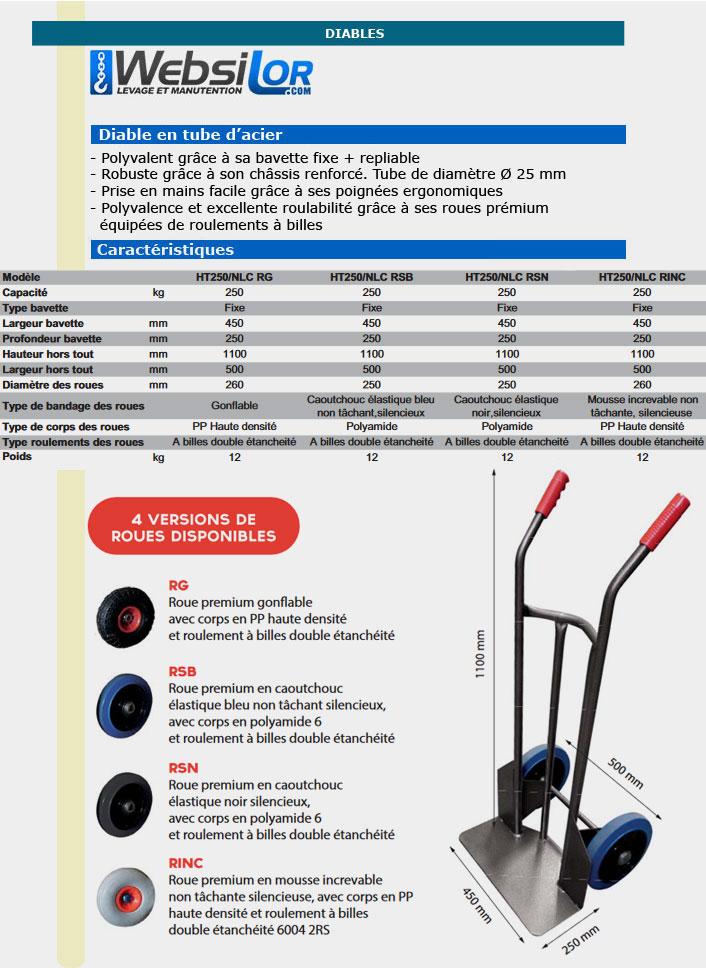 Informations techniques Diable en tube d'acier - 250 kg