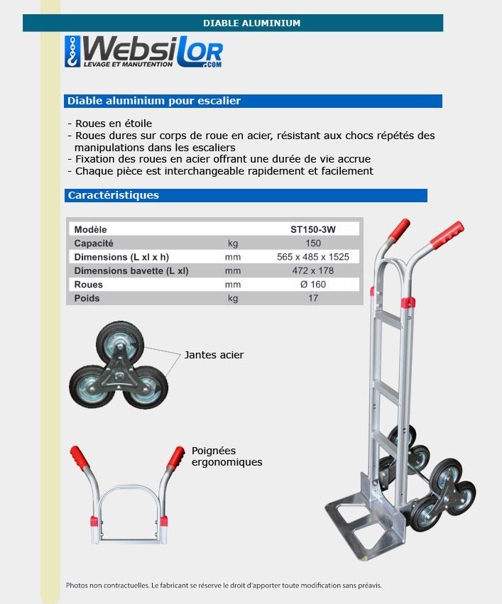Informations techniques Diable escalier en aluminium - 150 kg