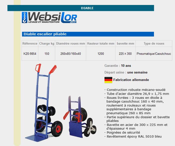 Informations techniques Diable escalier pliable - 150 kg