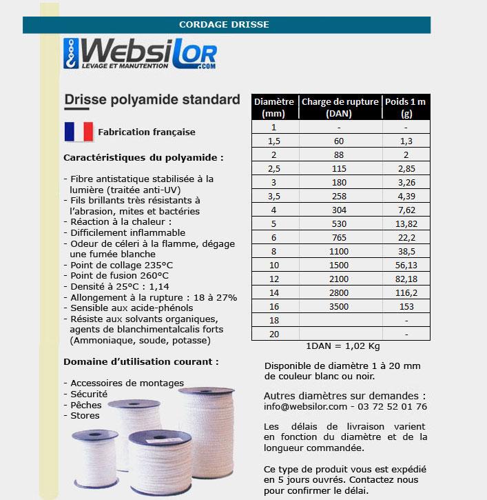 Informations techniques Drisse polyamide blanc ou noir