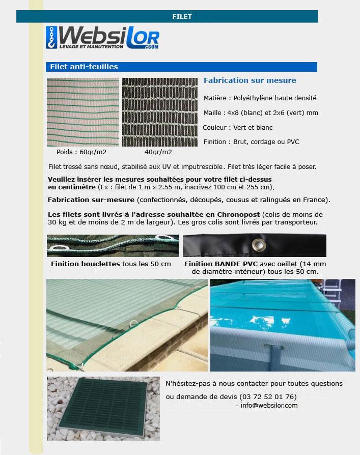 Informations techniques Filet anti-feuilles