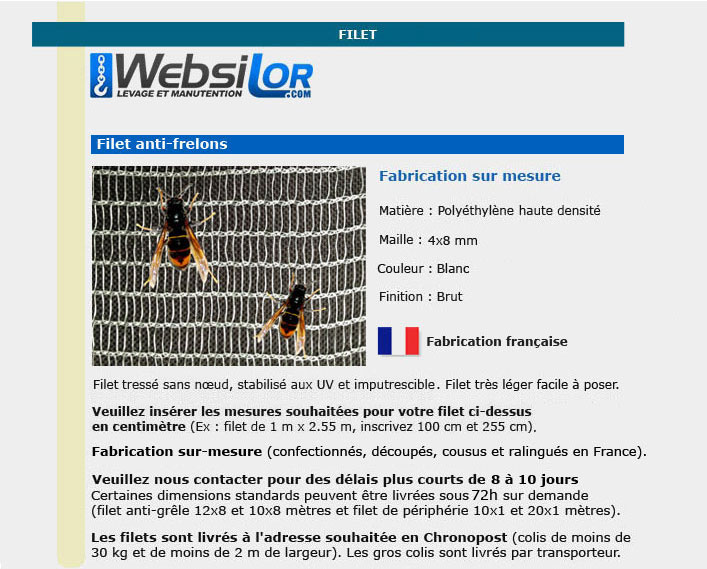 Informations techniques Filet anti-frelons
