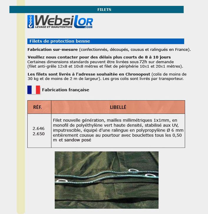 Informations techniques Filet de benne dimensions standards