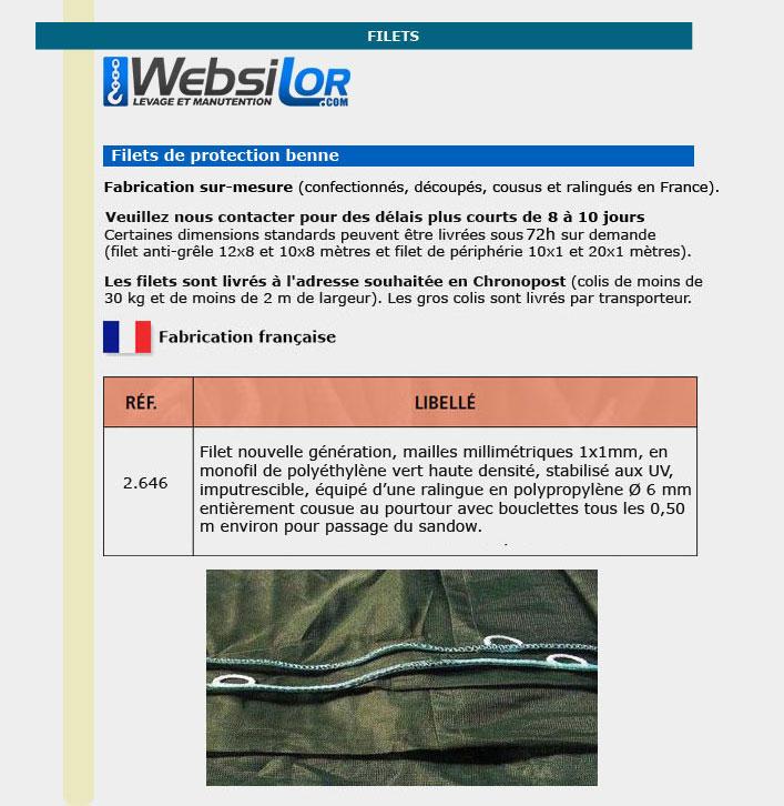 Informations techniques Filet remorque sur mesure