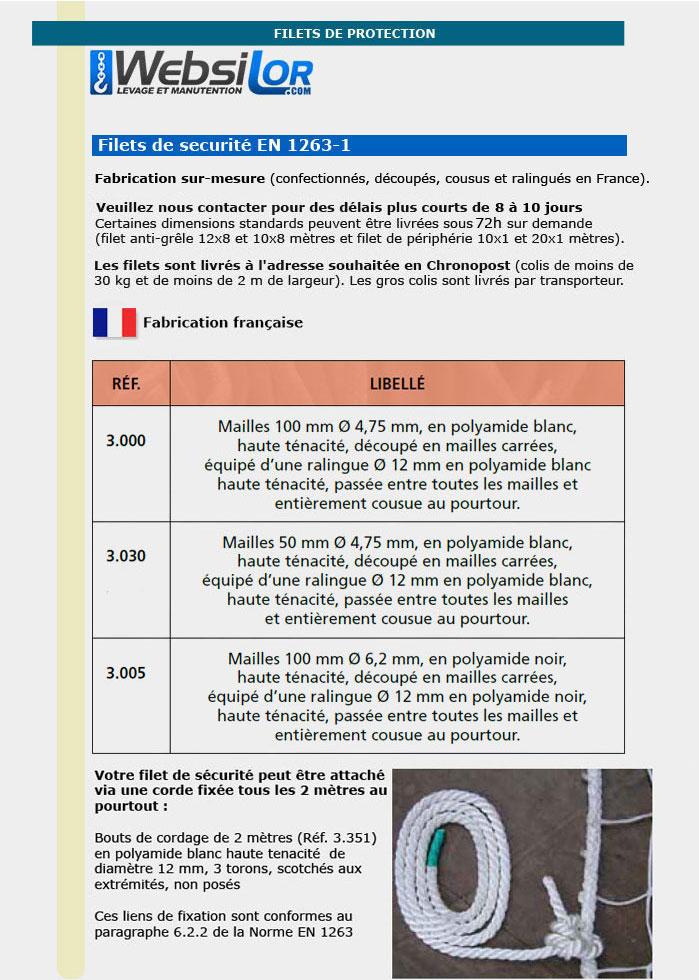 Informations technique de Filet de sécurité - maille 50x50mm - fil 4,75 mm