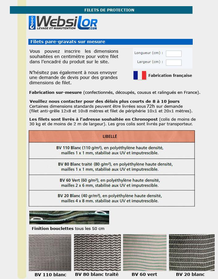 Informations techniques Filet pare-gravats - mailles 1x1mm - 110grs