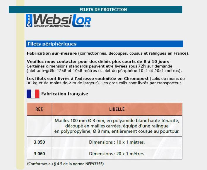 Informations techniques Filet périphérique - 10 x 1 mètres