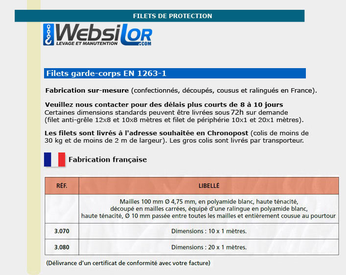 Informations techniques Filet garde-corps protection