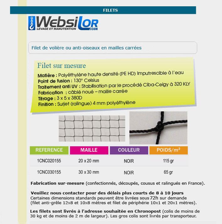 Informations techniques Filet de volière - mailles 20 x 20 mm