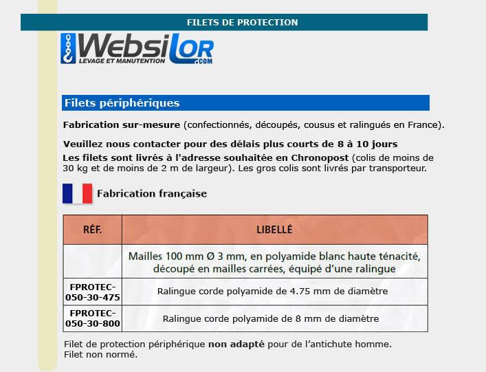 Informations techniques Filet de protection économique