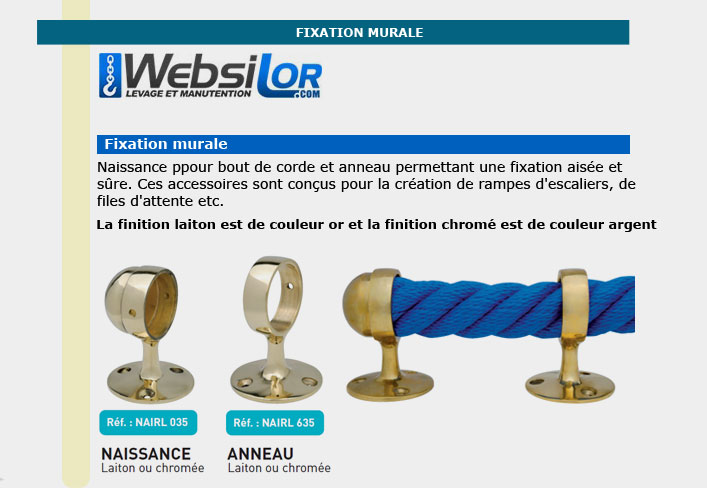 Informations techniques Naissance pour corde de 36 mm
