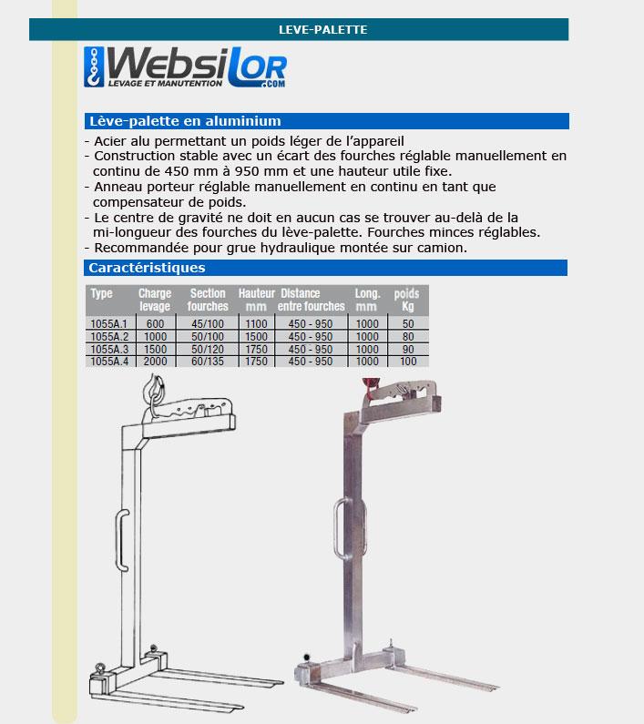 Informations techniques Lève-palette aluminium réglable