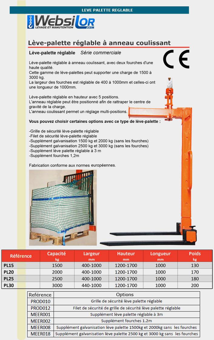 Informations techniques Lève-palette réglable à embout pour rotator.
