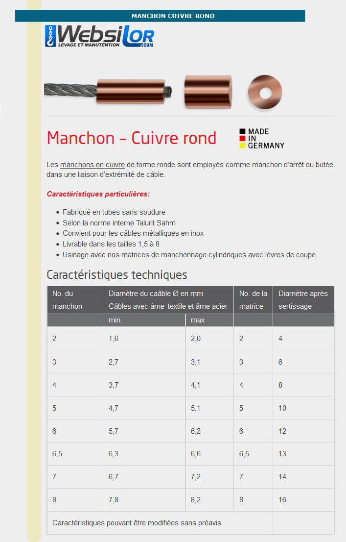 Informations techniques Manchons en cuivre ROND