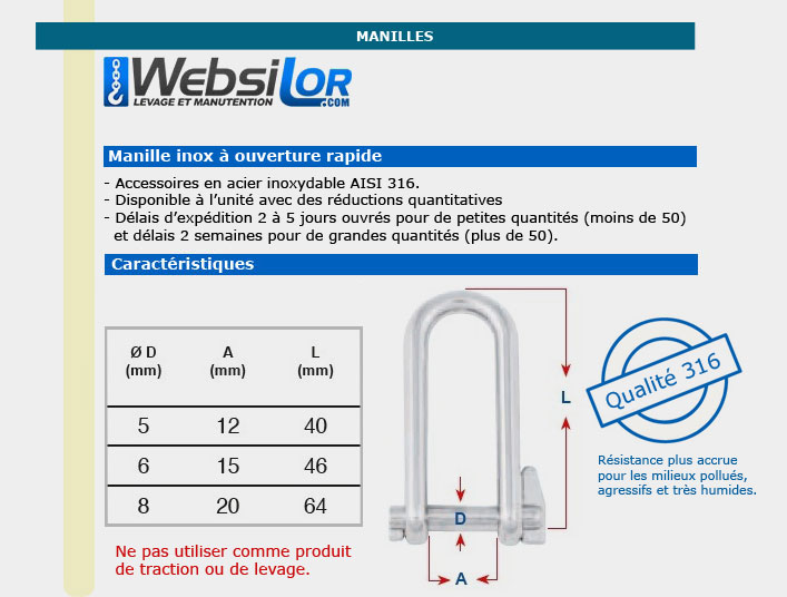 Informations techniques Manille inox ouverture rapide