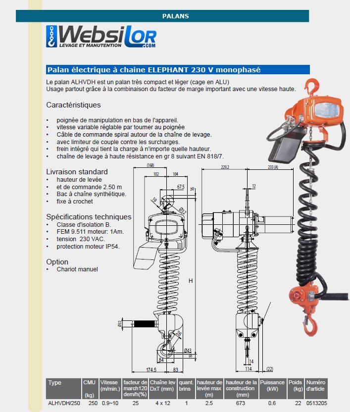 Informations techniques Palan électrique monophasé à commande au crochet - 250kg