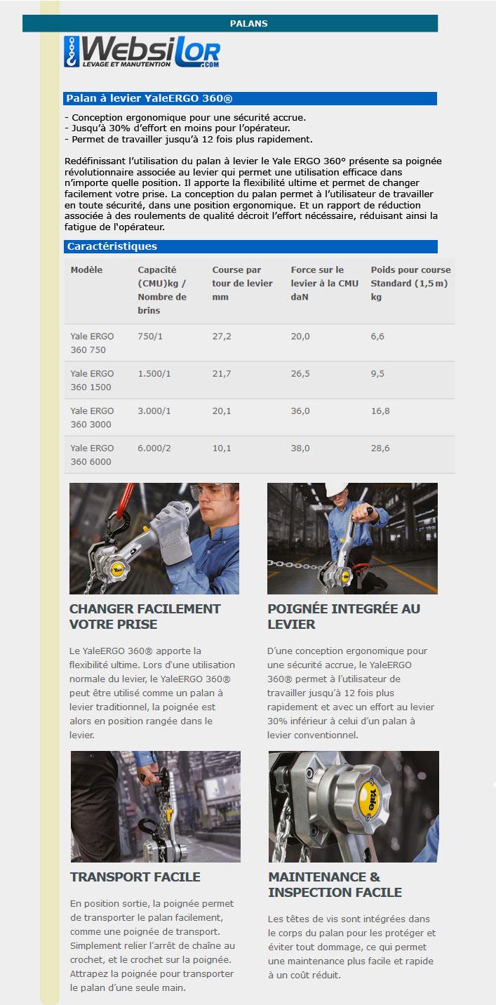 Informations techniques Palan à levier Yale Ergo - 750 à 3000 kg